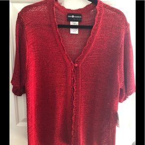 Women's loose knit cardigan - red - sag harbor 1x